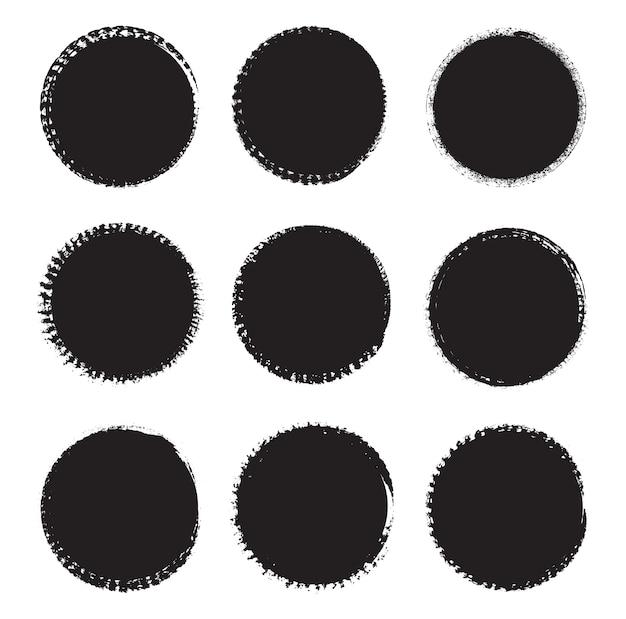 Kolekcja czarne okrągłe ramki grunge
