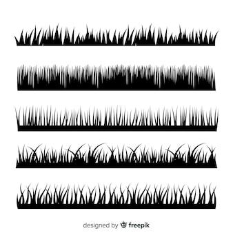 Kolekcja czarne sylwetki granicy trawy