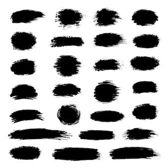 Kolekcja czarnej farby, pociągnięcia pędzlem tuszem, pędzle, linie, grungy. brudne elementy artystyczne, pudełka, kółka, smugi
