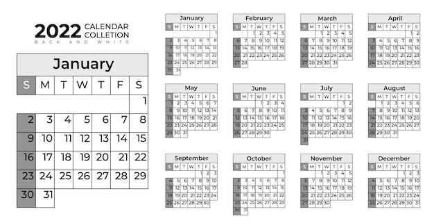 Kolekcja czarno-białych kalendarzy 2022