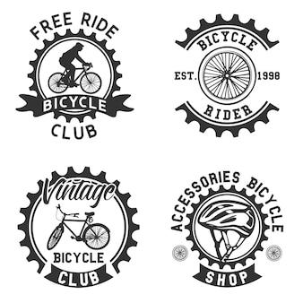 Kolekcja czarno-białych logo rowerów