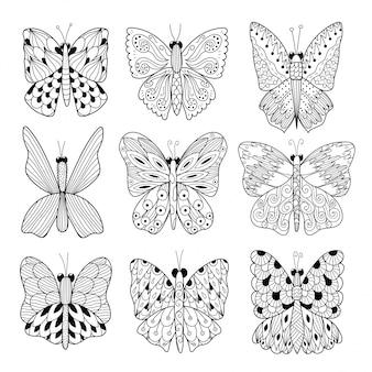 Kolekcja czarno-białych motyli. doskonały do kolorowania stron, kart i projektowania ulotek. ilustracji wektorowych
