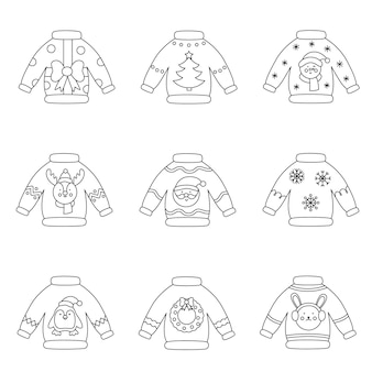 Kolekcja czarno-białych świątecznych swetrów wektorowych.