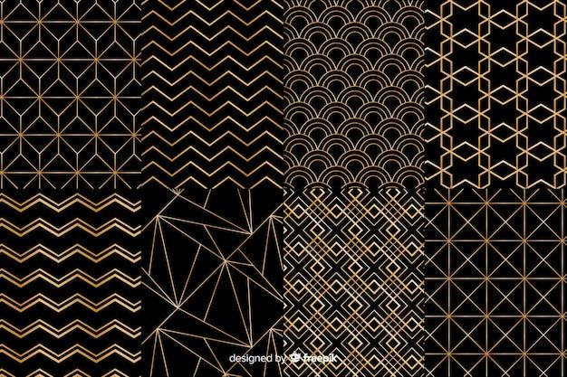Kolekcja czarno -złotych wzorów