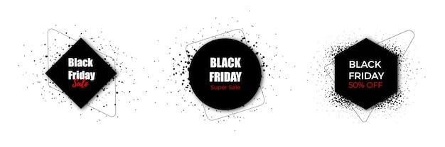 Kolekcja czarnych etykiet w czarny piątek wyprzedaż