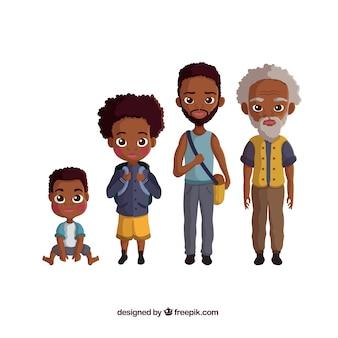 Kolekcja czarnych mężczyzn w różnym wieku