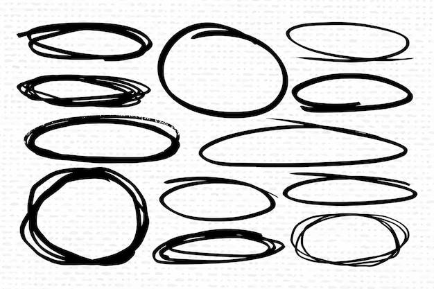 Kolekcja czarnych owalnych ramek banerowych