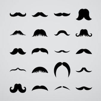 Kolekcja czarnych wąsów