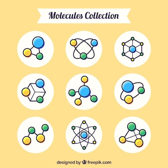 Kolekcja cząsteczki ręcznie rysowanej