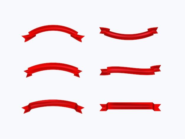 Kolekcja czerwona wstążka na białym tle.