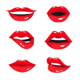 Kolekcja czerwone kobiece usta. zestaw seksownych ust kobiety wyrażających różne emocje: uśmiech, pocałunek, półotwarte usta i przygryzioną wargę. ilustracja na białym tle.