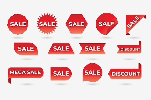 Kolekcja czerwonej etykiety sprzedaży