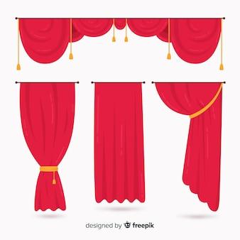 Kolekcja czerwonej zasłony płaska