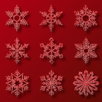 Kolekcja czerwony brokat płatki śniegu