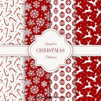 Kolekcja czerwonych christmas wzorów