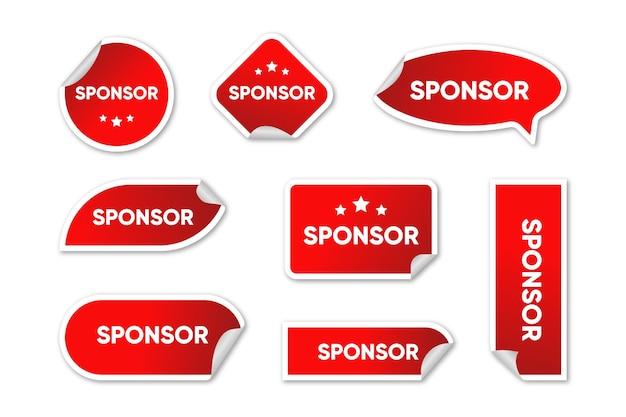 Kolekcja czerwonych naklejek sponsorów