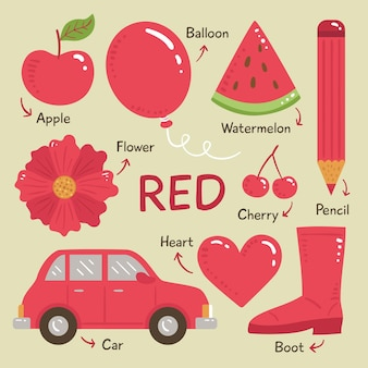Kolekcja czerwonych obiektów i słów słownictwa