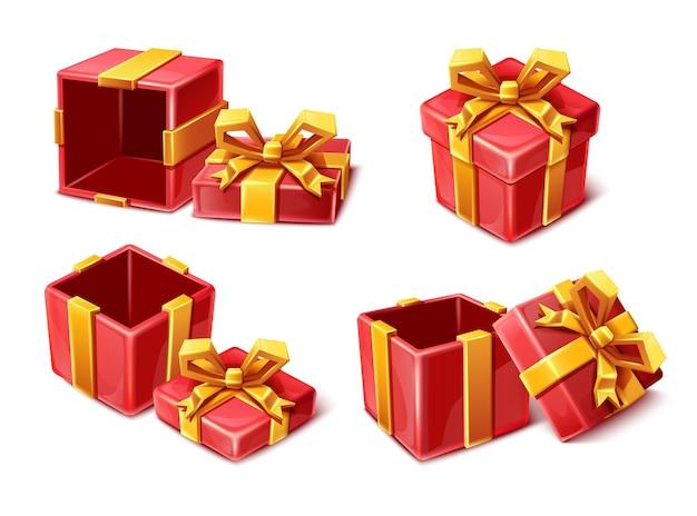 Kolekcja czerwonych pudełek uroczystości w stylu kreskówki ze złotymi wstążkami otwarte i zamknięte na białym tle.