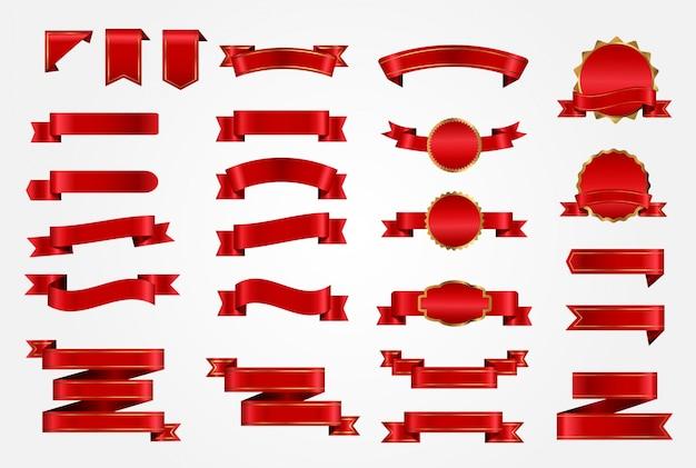 Kolekcja czerwonych wstążek