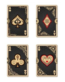 Kolekcja czterech asów w stylu vintage.