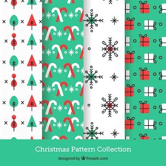 Kolekcja czterech christmas wzorów w kolorze białym i turkusowy