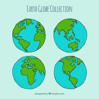 Kolekcja czterech globusów ziemskich w stylu ręcznie rysowanym