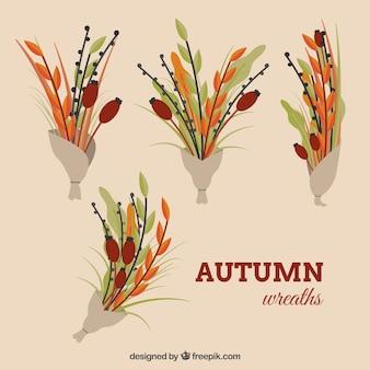 Kolekcja czterech kolorowych bukietów na jesień