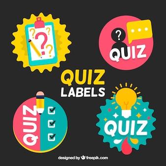 Kolekcja czterech kolorowych etykiet quizu