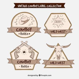 Kolekcja czterech kowbojskich etykiet