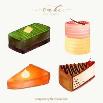 Kolekcja czterech pięknych ciast akwarela