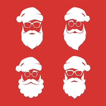 Kolekcja czterech sylwetek świętego mikołaja w stylu hipster.