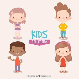 Kolekcja czterech uśmiechniętych dzieci