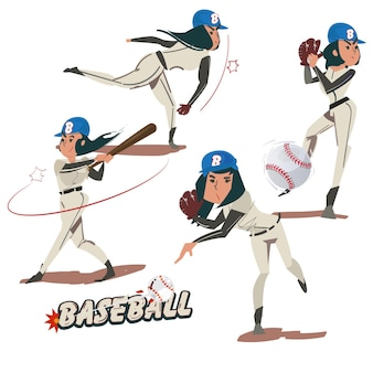 Kolekcja Damska Baseball - Ilustracja Premium Wektorów