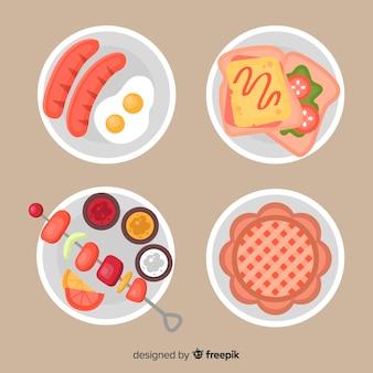 Kolekcja danie z płaskim żywności