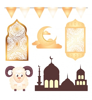 Kolekcja, dekoracja ikon eid al adha mubarak