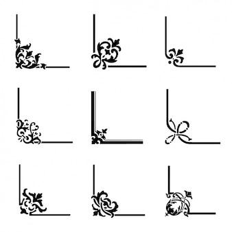 Kolekcja dekoracyjne narożniki