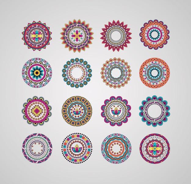 Kolekcja dekoracyjnych mandali kwiatowy czeski