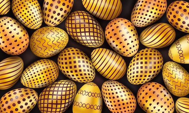 Kolekcja dekorujących złotych wielkanocnych jajek na czarnym tle