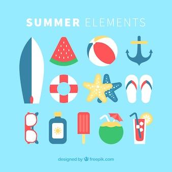 Kolekcja desek surfingowych i elementów w płaskim stylu