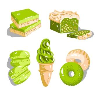 Kolekcja deserów matcha