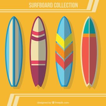 Kolekcja deskę surfingową w płaskiej konstrukcji
