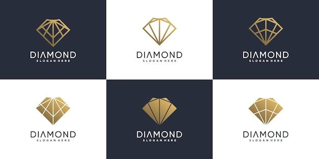 Kolekcja diamentowych logo z nowoczesną koncepcją kreatywną premium wektor