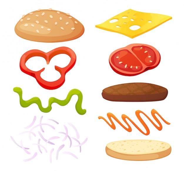 Kolekcja diy burger ingredients. zestaw pojedynczych składników do zbudowania własnego burgera i kanapki. pokrojone warzywa, sosy, bułka i kotlet do burgera. ekspres do burgerów