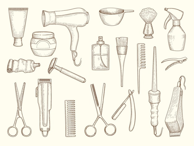 Kolekcja dla fryzjera. akcesoria do rysowania do salonu piękności grzebień do golenia nożyczki szampon suszący ręcznik w sprayu.