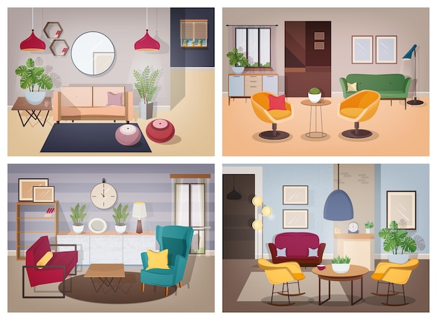 Kolekcja do salonu w stylu radzieckim. mieszkanie umeblowane z roślinami domowymi. kolorowy wektor zestaw ilustracji.