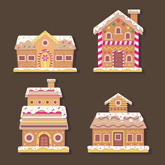 Kolekcja domków z piernika w płaskiej konstrukcji