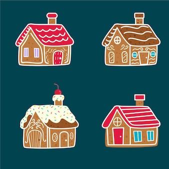 Kolekcja domków z piernika w stylu vintage