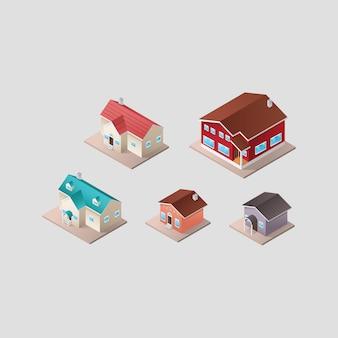 Kolekcja domów izometryczne
