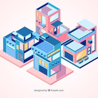 Kolekcja domów mieszkalnych w stylu izometrycznym
