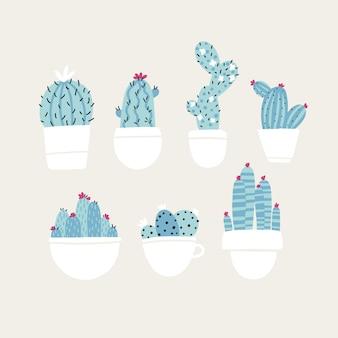 Kolekcja domowych roślin kwitnących kaktusów i sukulentów w doniczkach. modny ręcznie rysowane skandynawski styl doodle kreskówka. minimalistyczna pastelowa paleta.